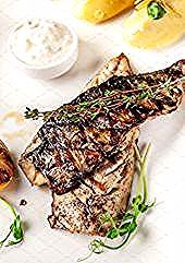 Photo of Grilled juicy mackerel, served with mashed potatoes, citrus …