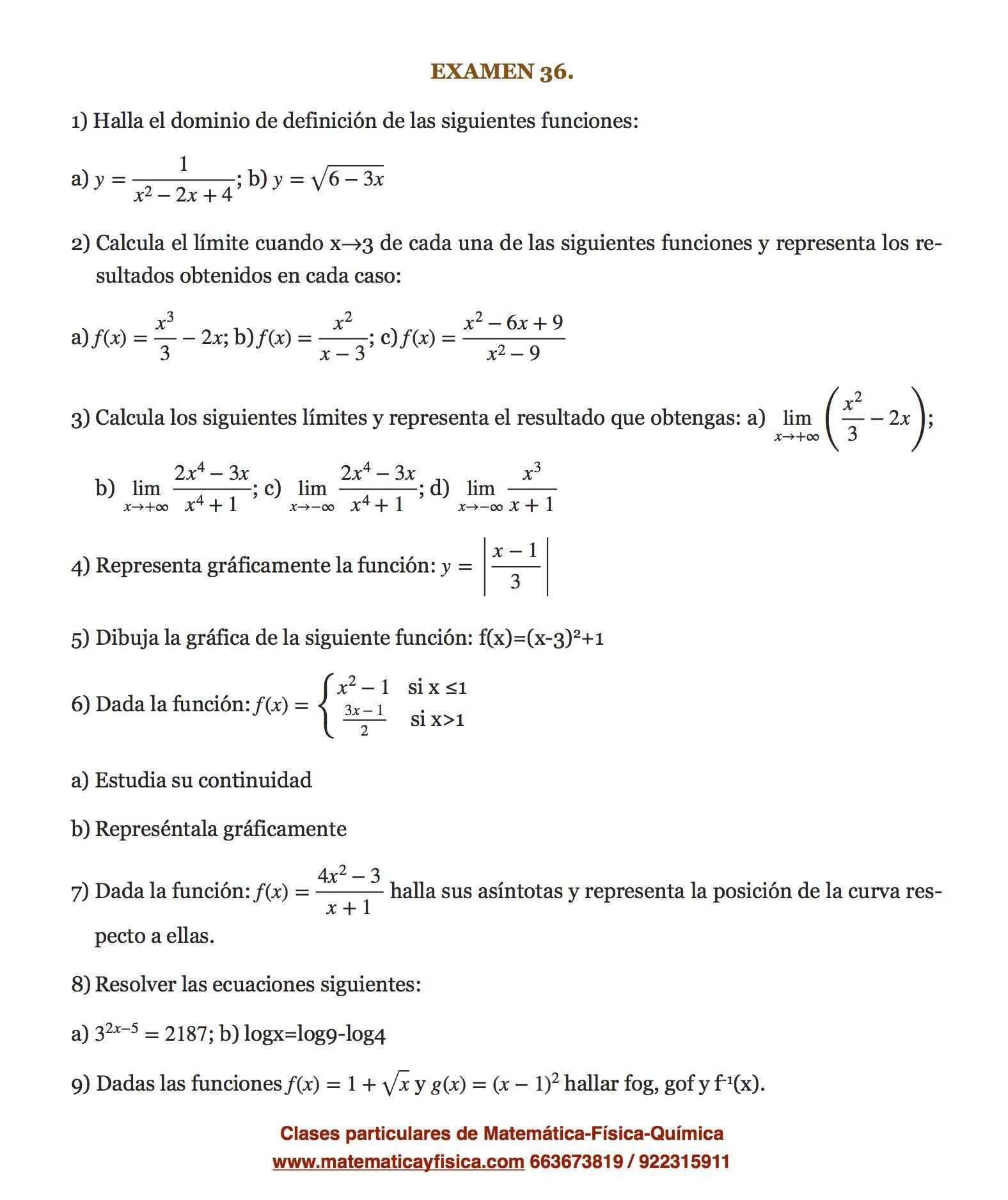 Examen 36 Matematica Bachillerato Examen De Matematicas