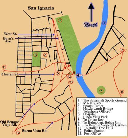map san ignacio belize San Ignacio Belize San Ignacio And Santa Elena Town Map Belize map san ignacio belize