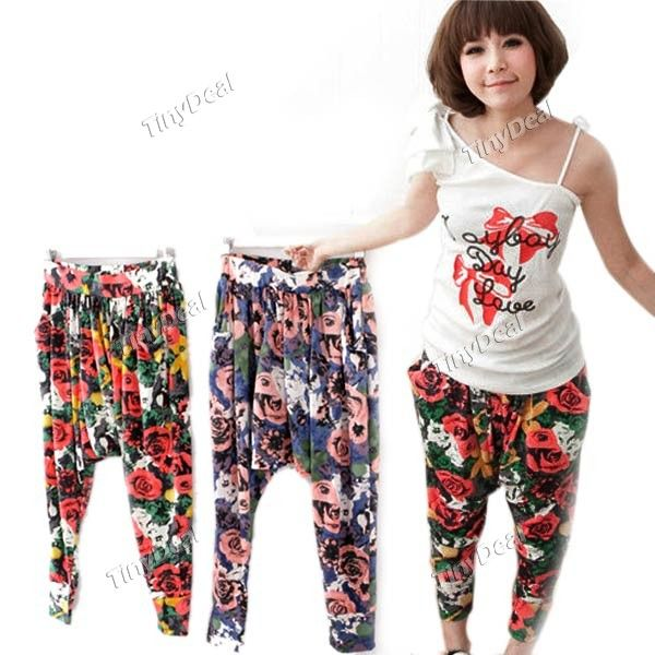 Casual Rose Printing Calf Length Harem Pants Hip Hop Trousers Low Crotch Pants For Women Ladies Nwn 95213 Pants For Women Hip Hop Trousers