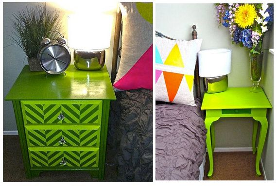 Green Reverse Chevron Nightstand Bedside Table by charneymakes, $1025.00