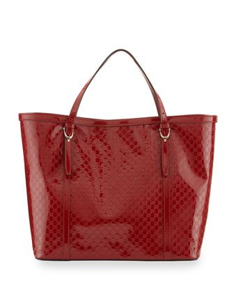 Gucci Nice Microguccissima Patent Leather Tote Red By At Neiman Marcus