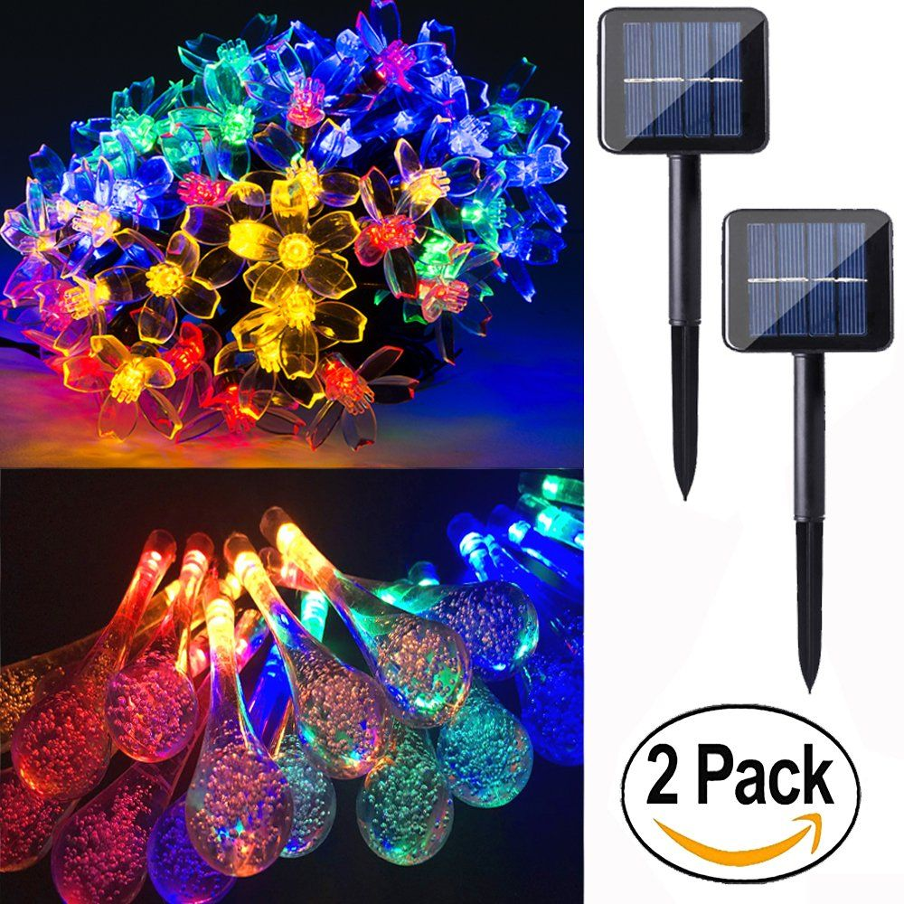 2 pack 50 led solar string lights 23 feet multi colored outdoor christmas lights for party