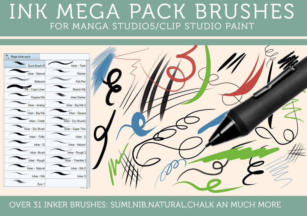 My Custom Clip Studio Paint And Manga Studio 5 Brushes Brushes
