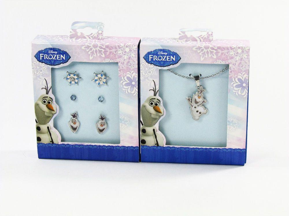 Disney Frozen Silver Tone Olaf The Snowman Necklace & Set of 3 Stud Earrings