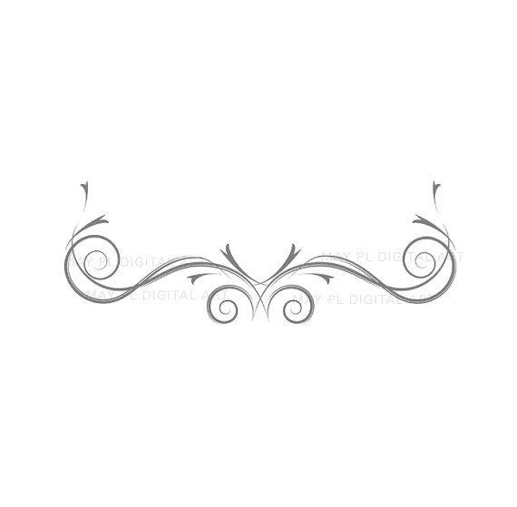 Vintage Flourish Clip Art GREY GRAY Swirls Clipart Decorative DIY Engagement Wedding Bridal Shower Invite Photographer Craft Supply 10467