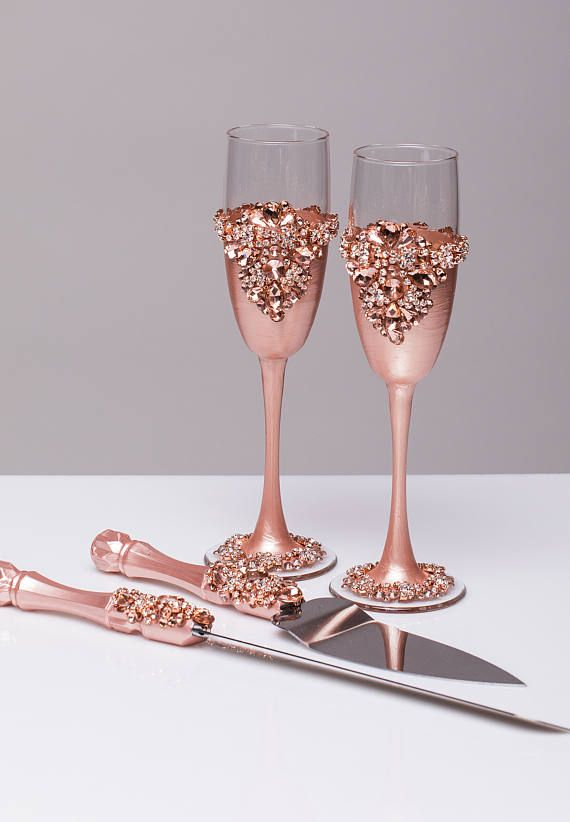 03aaf4522b1 ROSE GOLD Wedding glasses and Cake Server Set cake knife rose gold ...