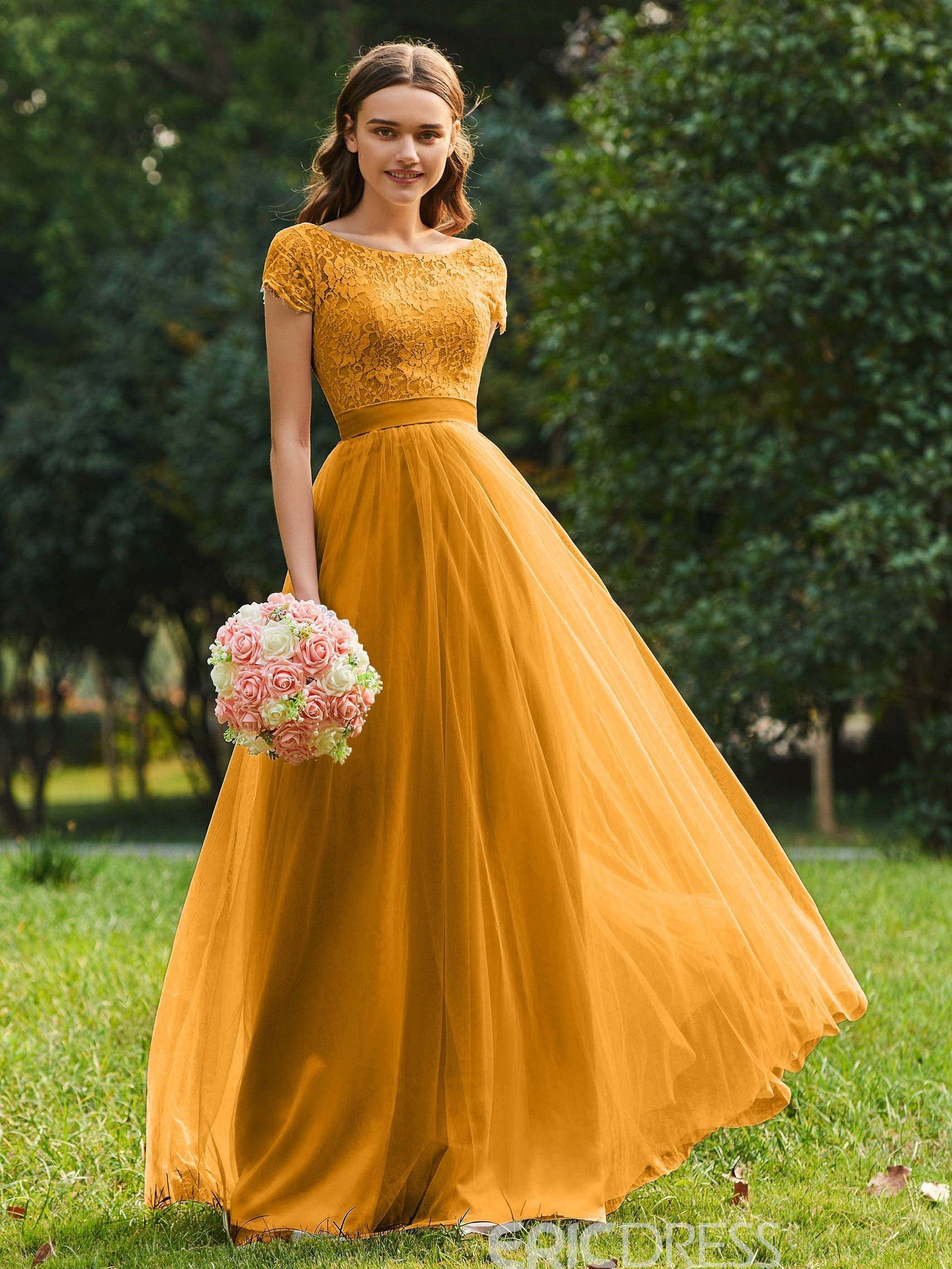 Ericdress Short Sleeves A Line Tulle Bridesmaid Dress 13092887 Ericdress Com Ericdre In 2020 Yellow Bridesmaid Dresses Tulle Bridesmaid Dress Lace Bridesmaid Dresses