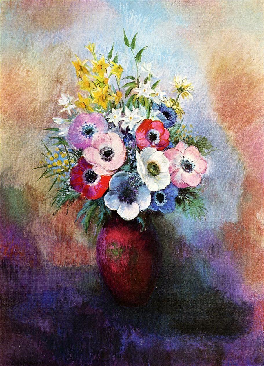 Anemones Odilon Redon Oil Painting Flower Painting Odilon Redon Flower Art