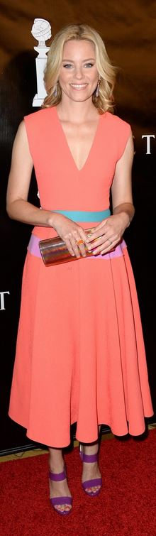Elizabeth Banks in Dress – Roksanda  Shoes and purse – Jimmy Choo  Jewelry – Irene Neuwirth