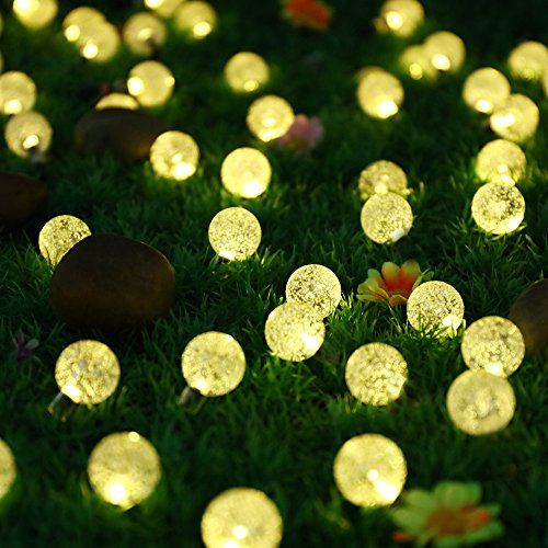 Light Up 30er Led Solar Lichterkette Aussen Globe Garten Kristall 6