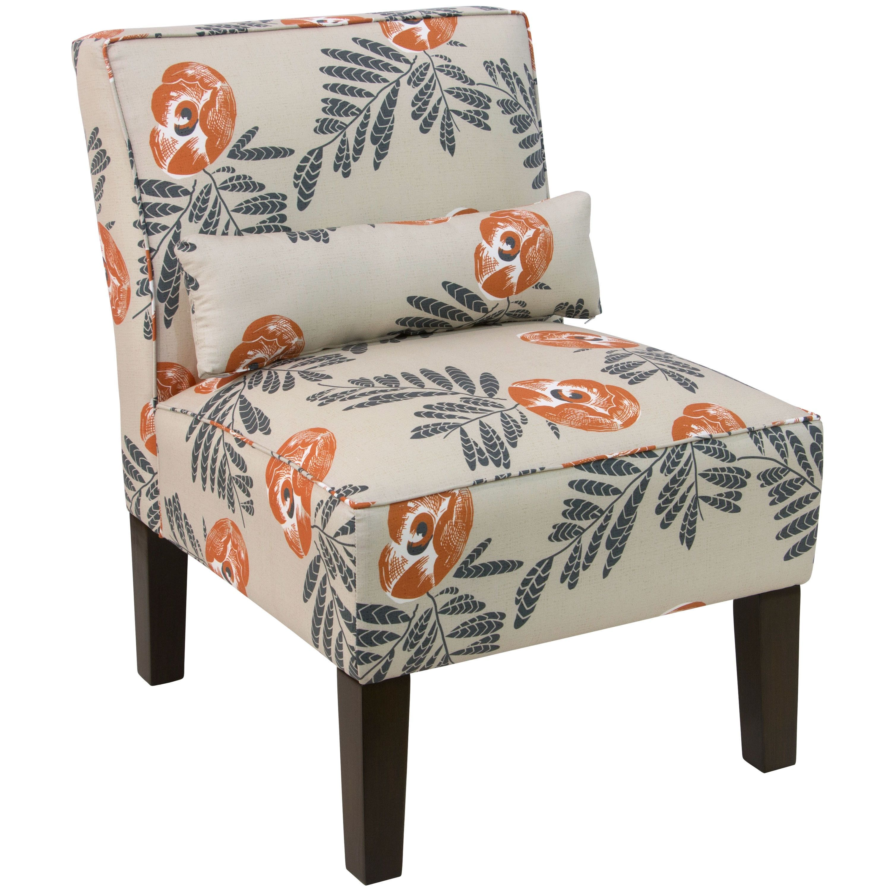 Skyline Cream Fabric With Orange Grey Floral Pattern Accent Chair