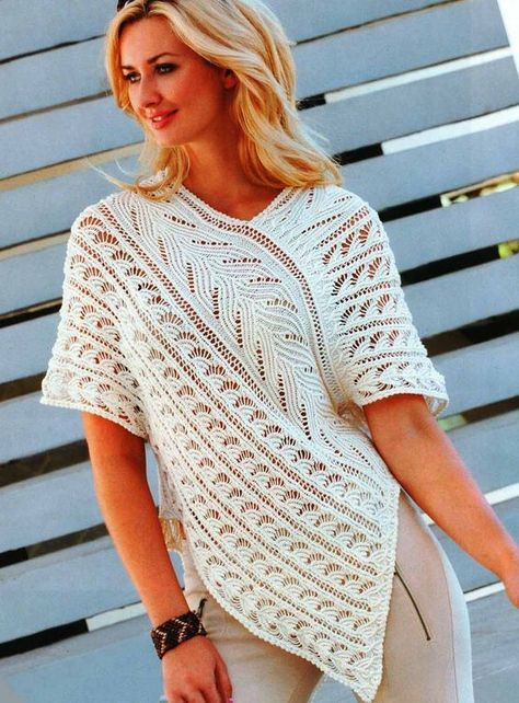 Photo of Tunic poncho with ajour pattern
