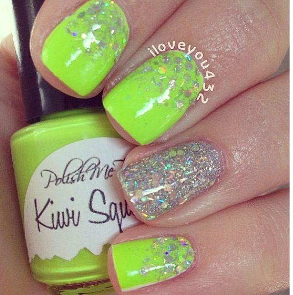 Lime green & sparkles nail design | Nails | Pinterest