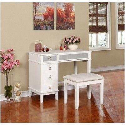 Eva Vanity Set White Linon Table and chair sets