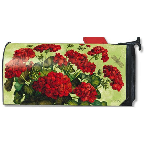 MailWraps Studio M Mailbox Cover Red Greaniums 01664