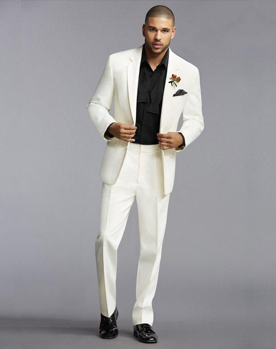Two-Button Notch Lapel Tuxedo in White with Two Buttons | The ...