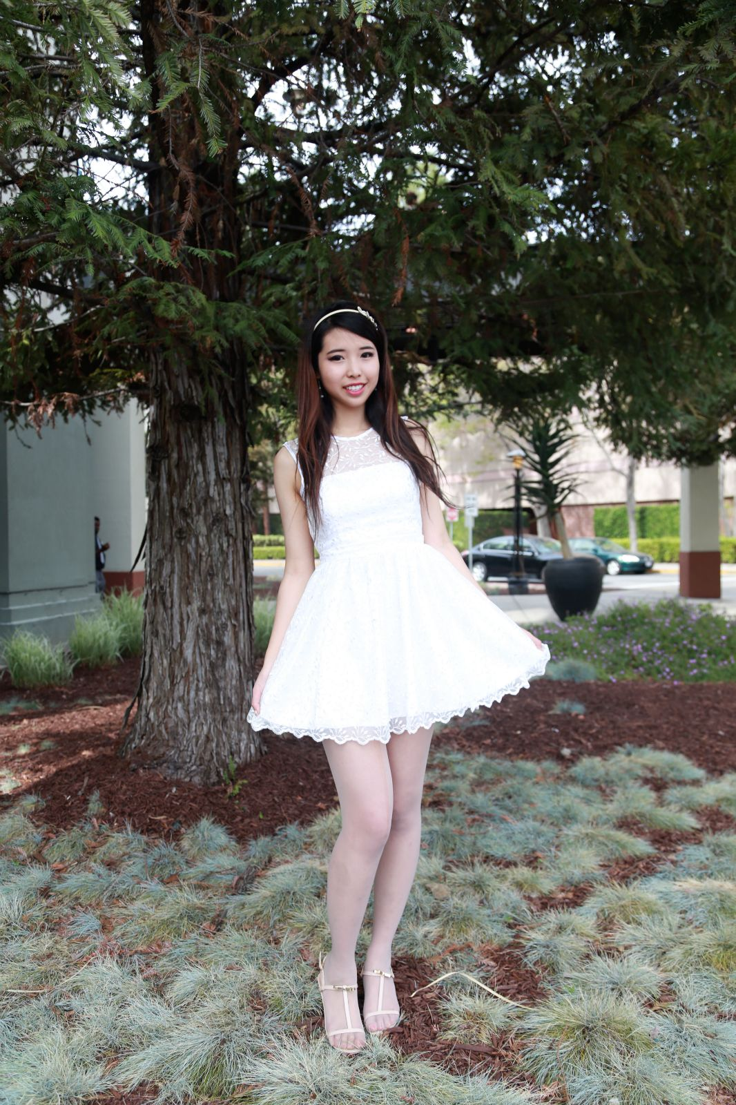 ally gong white prom dress asian model cute girly white style ...