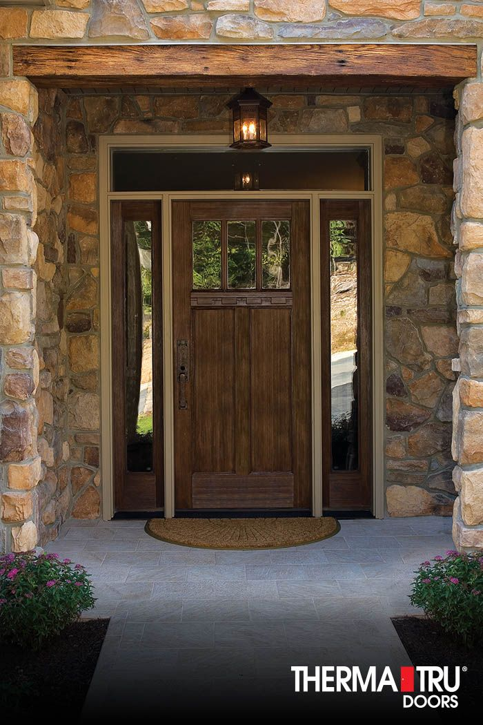 Therma tru classic craft american style collection fiberglass door with low e glass simulated - Wood exterior paint collection ...