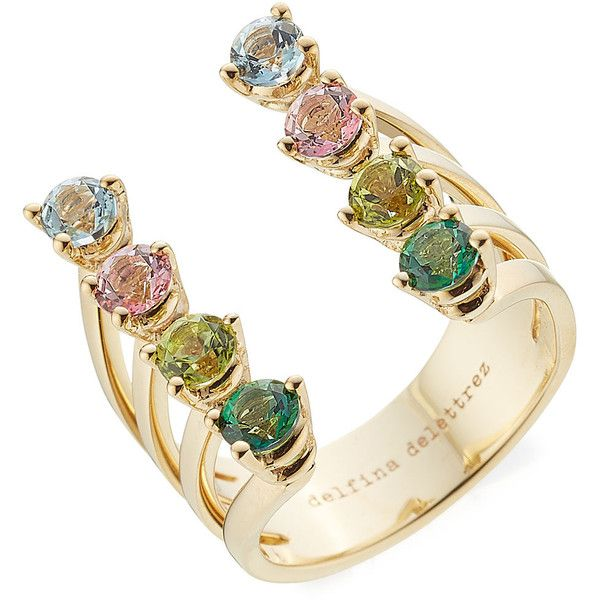 Delfina Delettrez 9kt Gold Ring (325.575 HUF) ❤ liked on Polyvore featuring jewelry, rings, multicolored, gold ring, multi color rings, pink jewelry, green ring and gold jewelry
