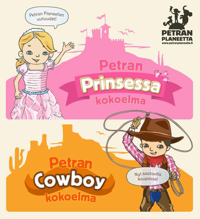 Ihanuuksia hurmaaville prinsessoille ja villin lännen meininkiä karjapaimenille!  Löydä Petran uudet virtuaalikokoelmat  kaupastamme: www.petranplaneetta.fi!