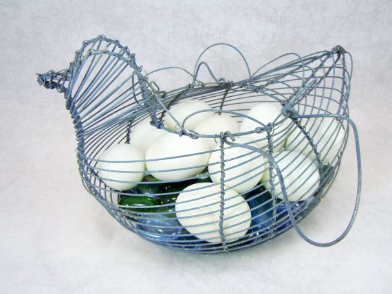 SALE Wire Chicken Basket Grey/Blue So May by RichardsRarityRealm, $18.00