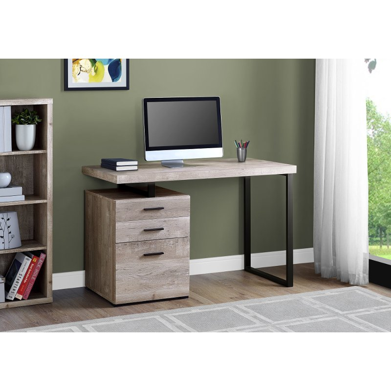 Taupe And Black Metal Small Office Desk Wood Computer Desk Credenza Desks Small Office Desk