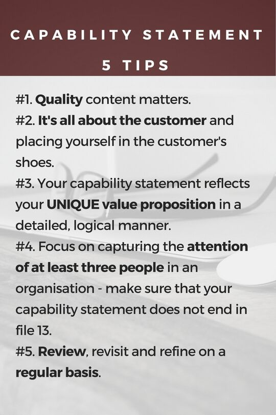 Capability Statement   Tips For Improving Your Capability