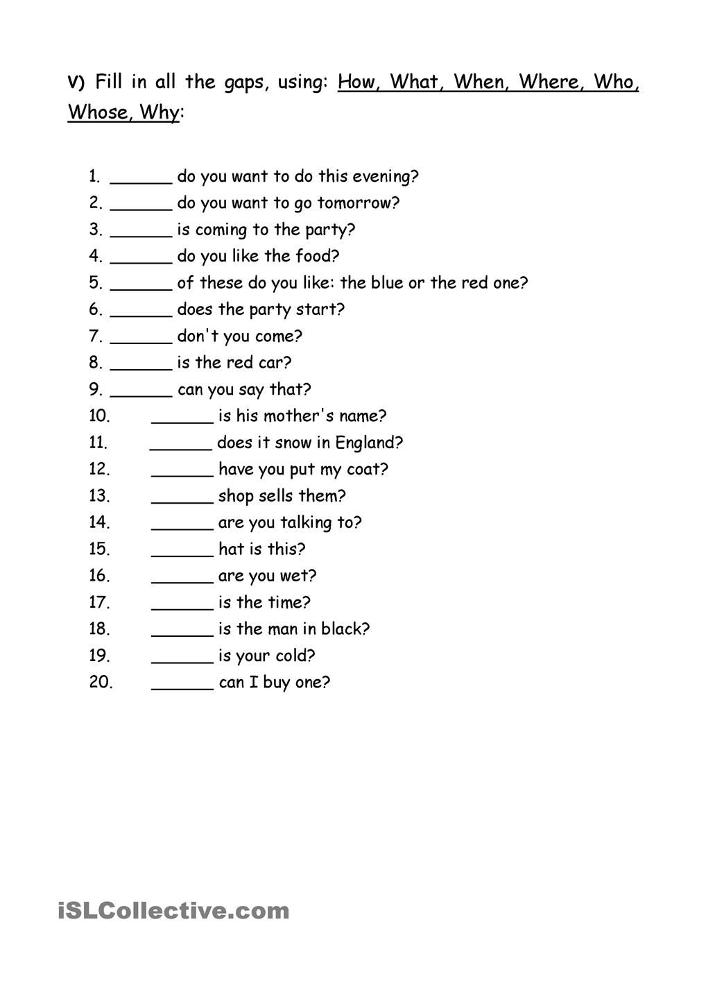 medium resolution of Exercises Wh question words   Essay writing skills