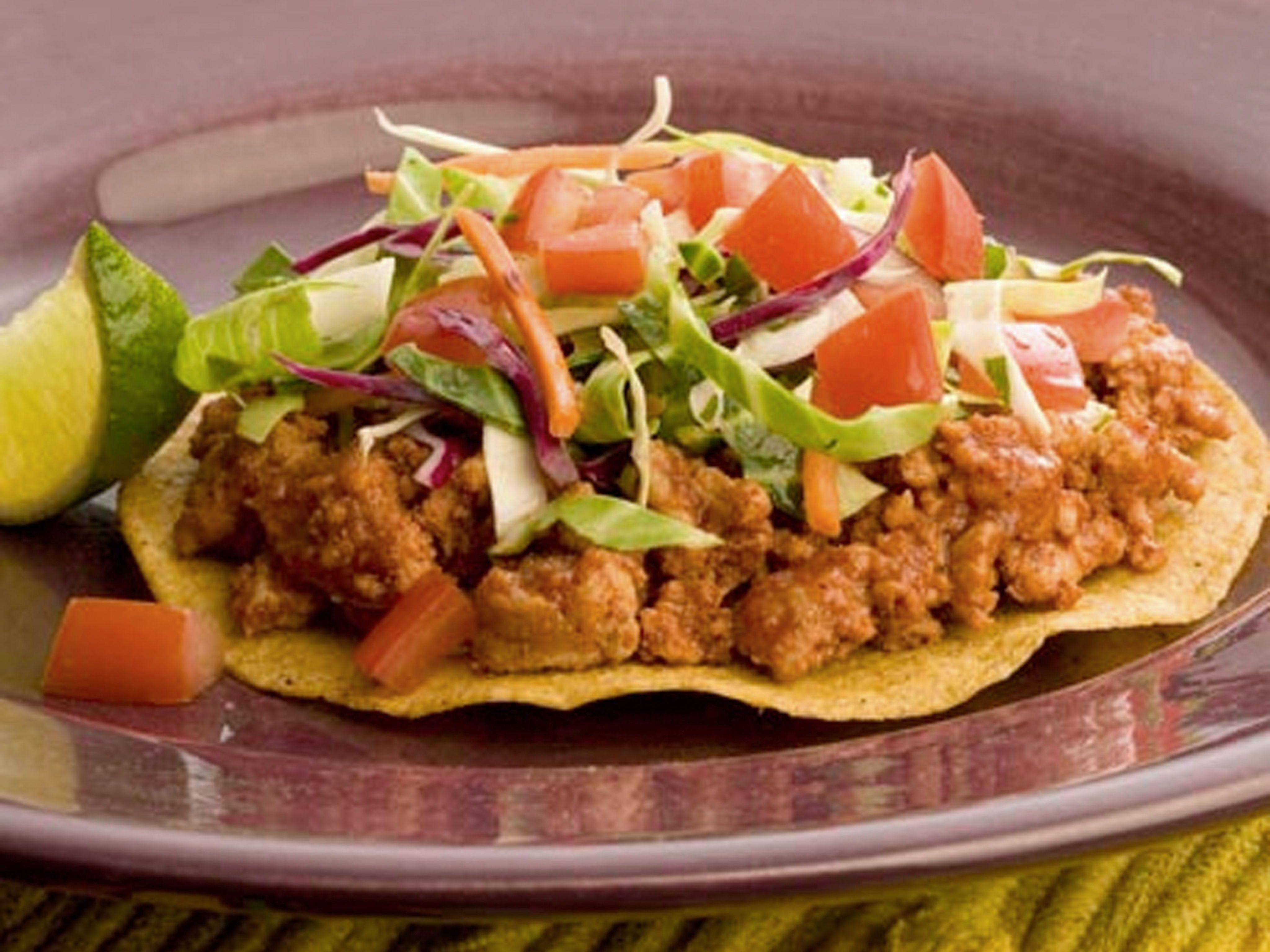 Spicy Turkey Tostadas Recipe : Food Network - FoodNetwork ...