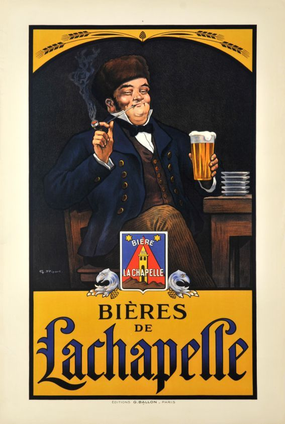 De Lachapelle By G This Vertical French Wine And Spirits Poster Features A Man Sitting At Pub Table Smoking Cigar Holding Glass Pint Of Beer