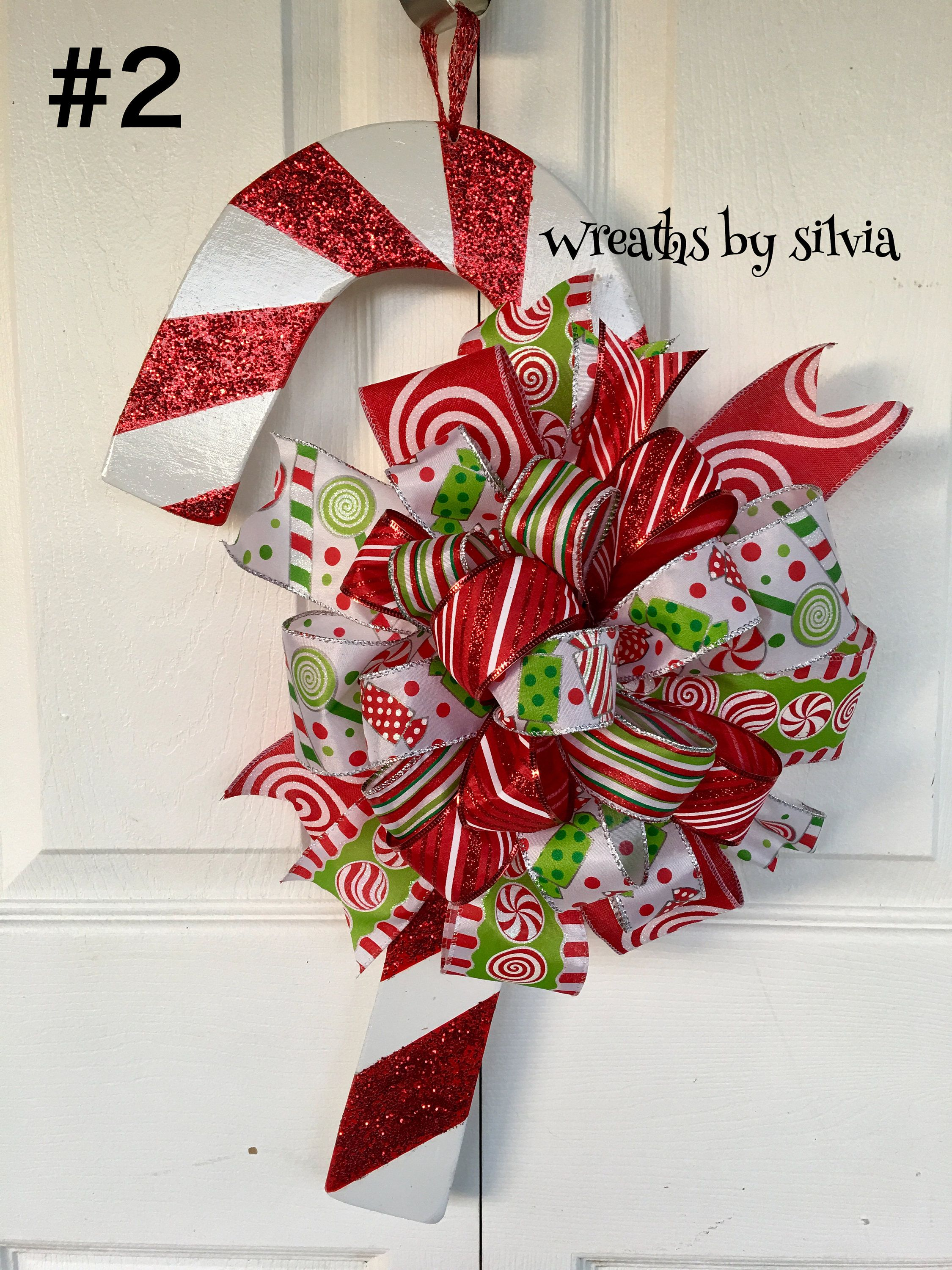 Candycane Wreath Holiday Wreath Christmas Candycane Wreath Christmas Traditioanal Wreath Christmas Wreath Candycane Door Hanger Diy Christmas Door Holiday Wreaths Christmas Wreaths