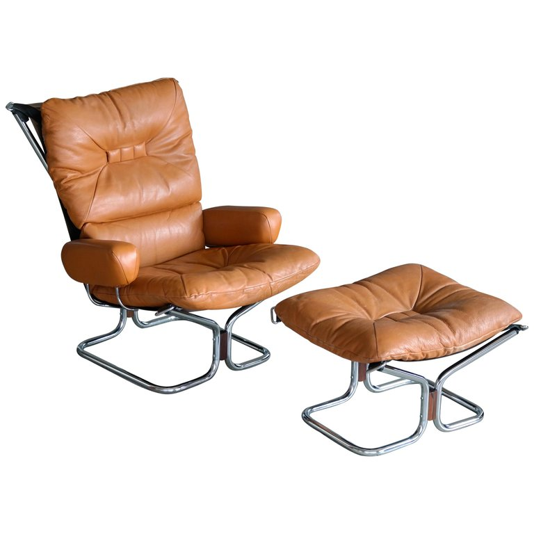 Peachy Harald Relling Wing Chair And Ottoman In Cognac Leather Creativecarmelina Interior Chair Design Creativecarmelinacom