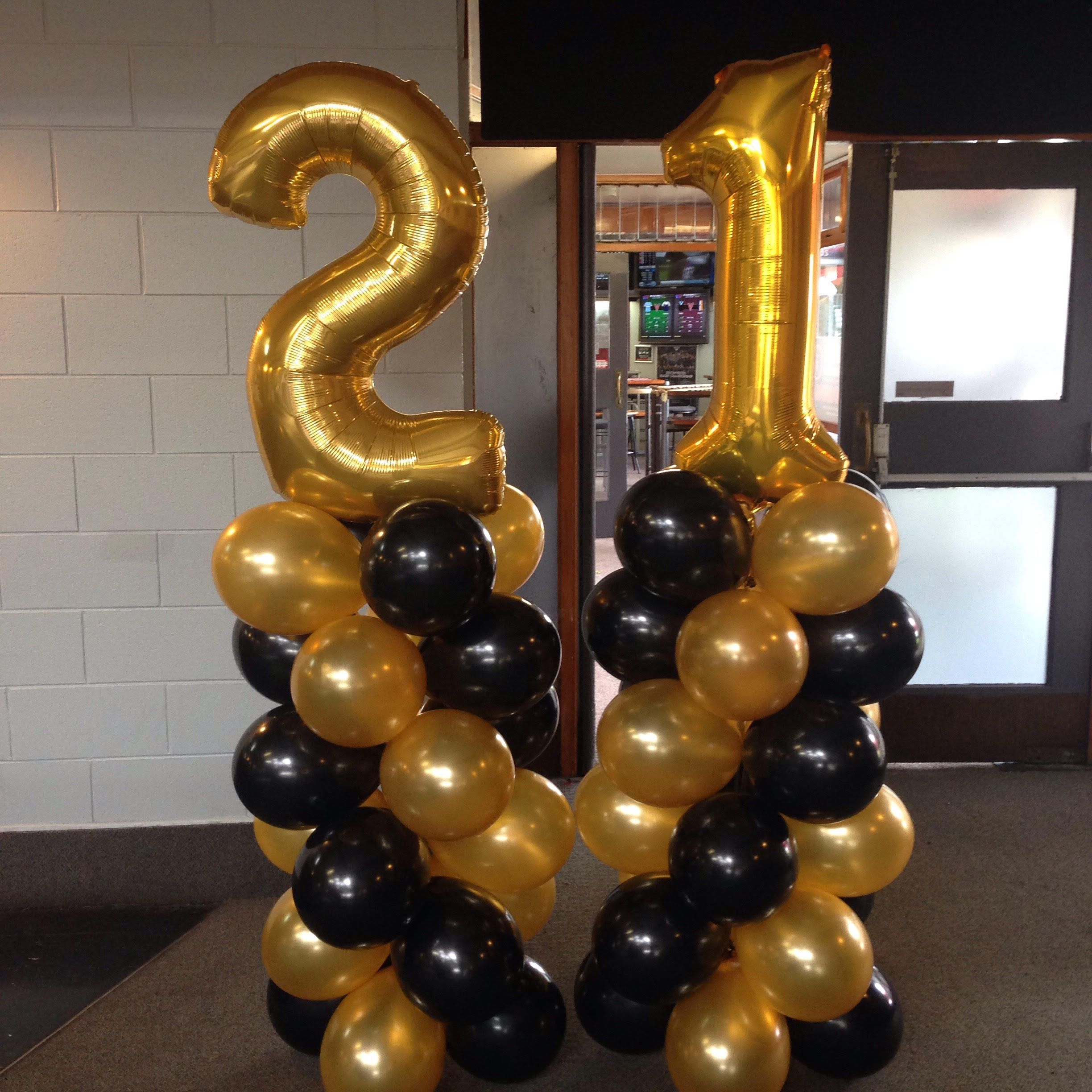 21st Birthday Balloon Ideas Gold And Black Balloon Towers With