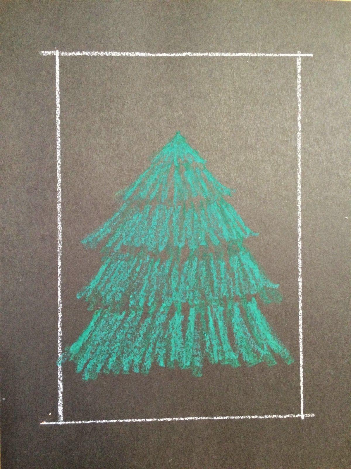 Kathyu0027s AngelNik Designs U0026 Art Project Ideas: Oil Pastel Christmas Tree In  A Snowstorm