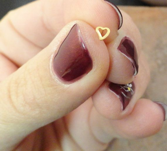 Gold Heart Nose Stud Nose Ring $7 00 via Etsy