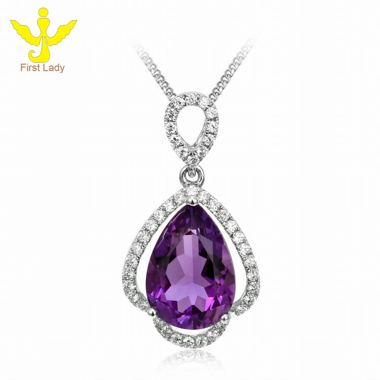 Solid 18K White Gold Natural Amethyst Pave Diamond Pendant Necklace, View Amethyst Pendant , FirstLady Product Details from Guangzhou First Lady Jewelry Co., Ltd. on Alibaba.com
