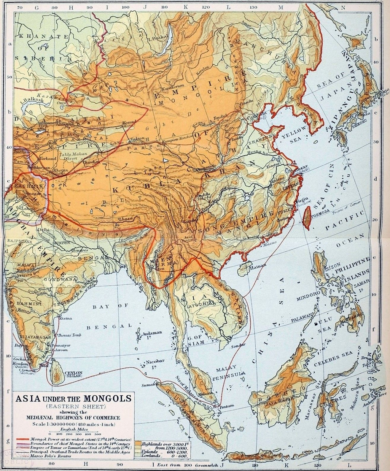 Map Of Asia Under The Mongols Eastern 13th And 14th Century