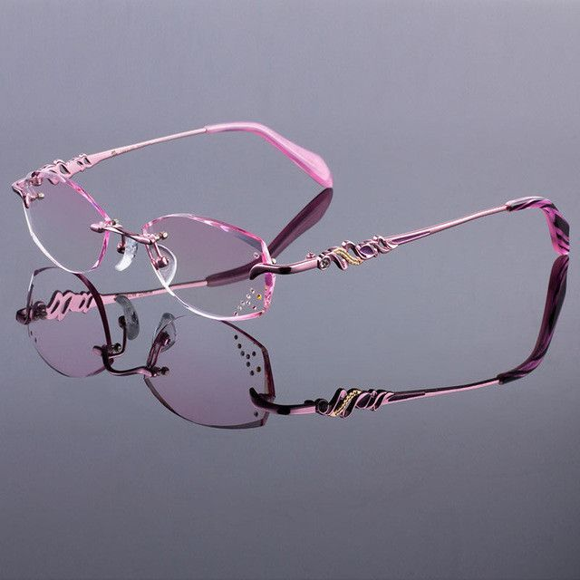 447d0547f0 Women Rimless Glasses Frames Women Titanium Alloy Pink Frame Diamond  Trimming Cut Rimless Glasses With Gradient Tint Lenses