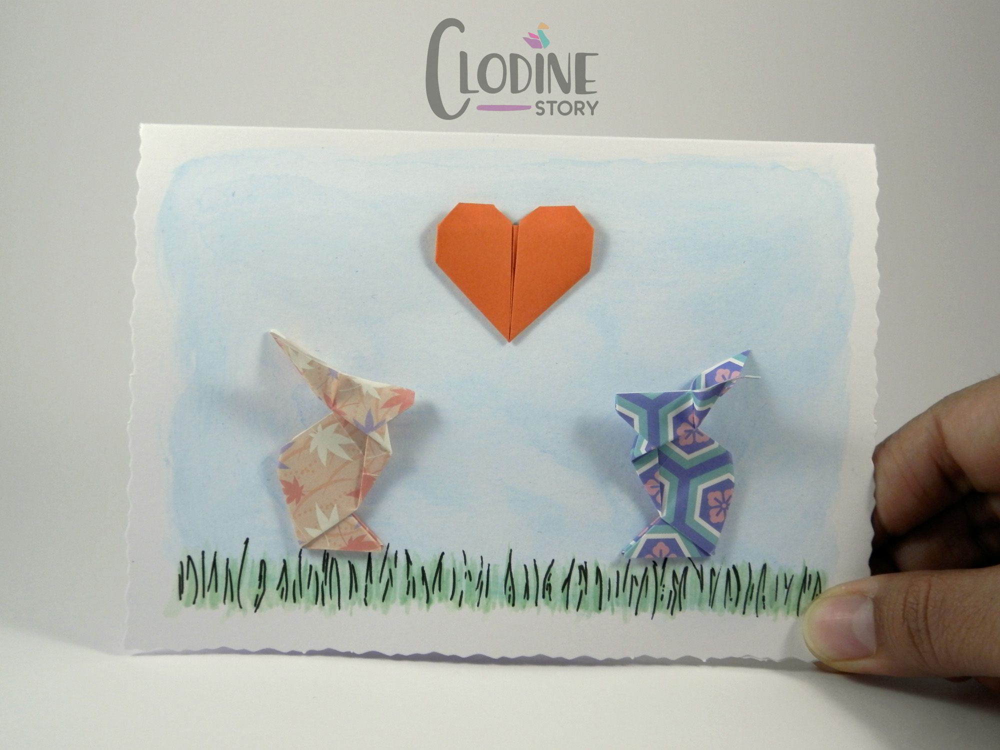 origami bunny valentine's day card origami greeting card