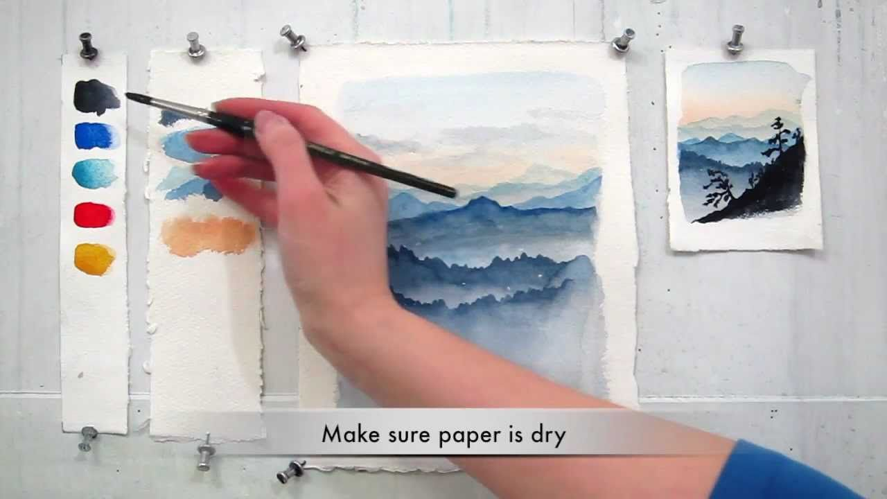Easy Step By Step Watercolor Tutorial Painting The Blue Ridge