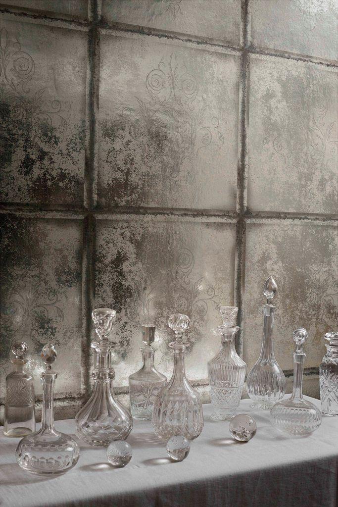 A Stunning Metallic Tiled Mirror Effect Wallpaper