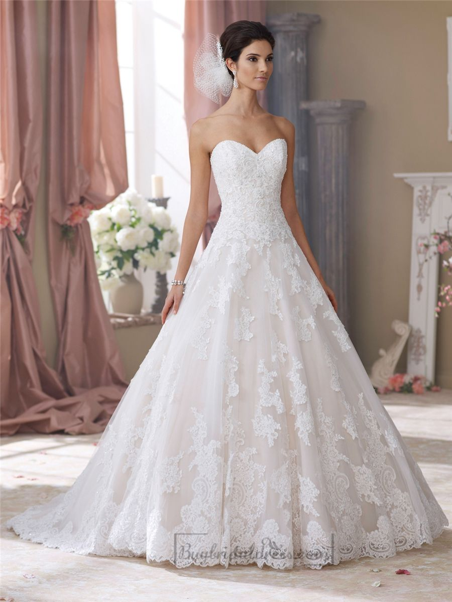 Strapless Sweetheart Lace Appliques Ball Gown Wedding Dresses