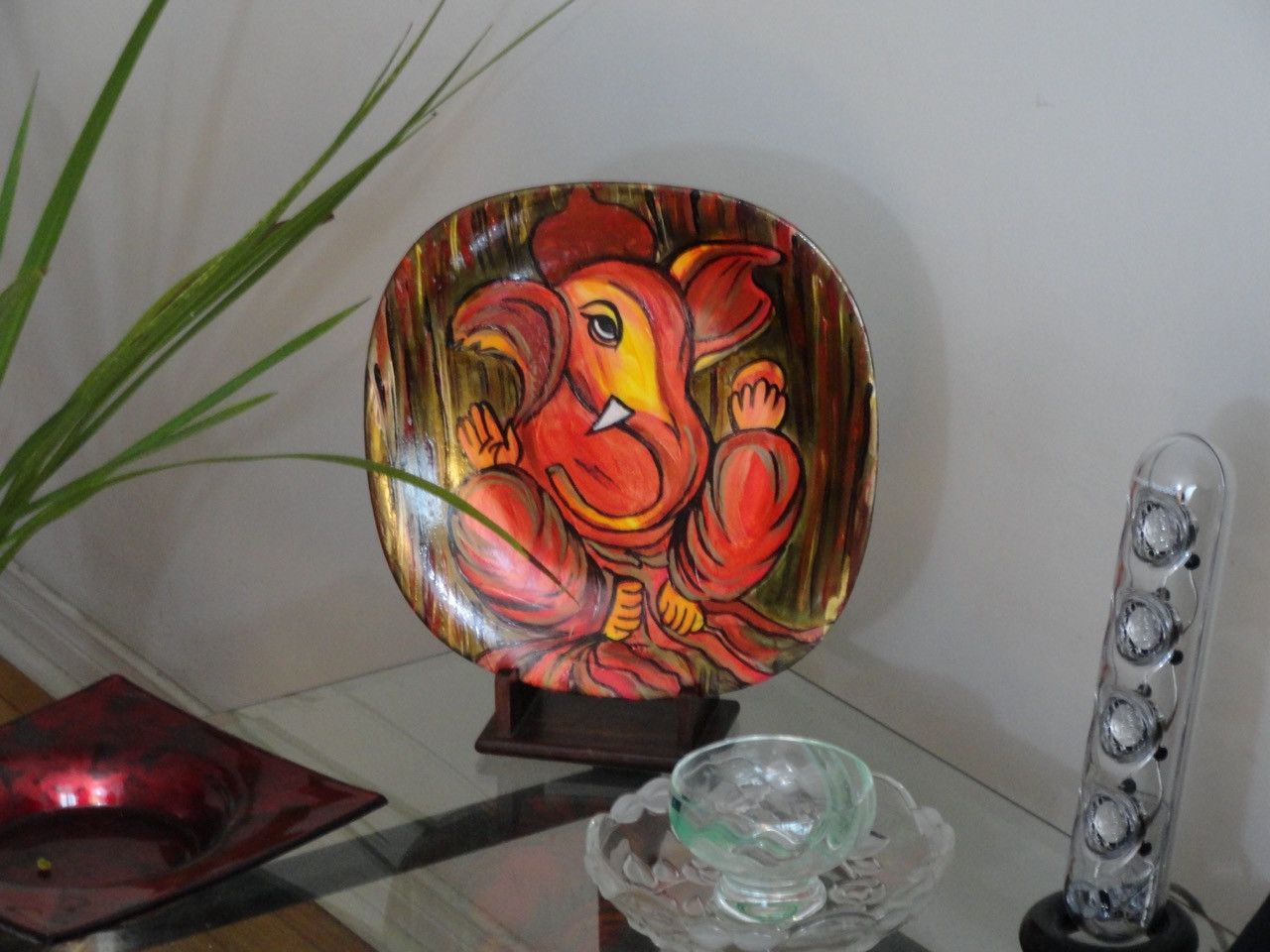 Ganapathy Oil Painting Plate Art Ganesha or