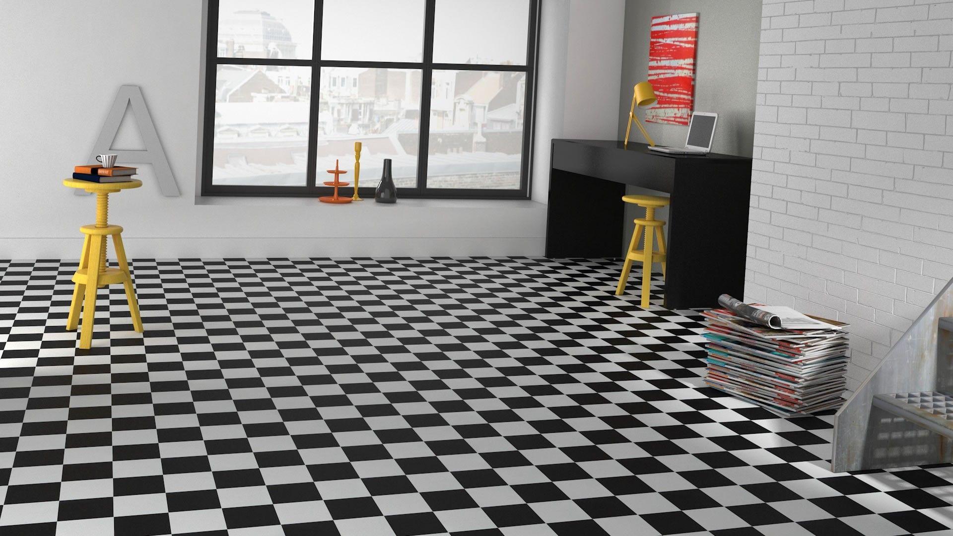 sol vinyle imitation carrelage damier noir et blanc. Black Bedroom Furniture Sets. Home Design Ideas