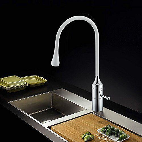 Homelody® Modern mit Weiss Lack beschichtet Spültischarma   - armatur küche ausziehbar