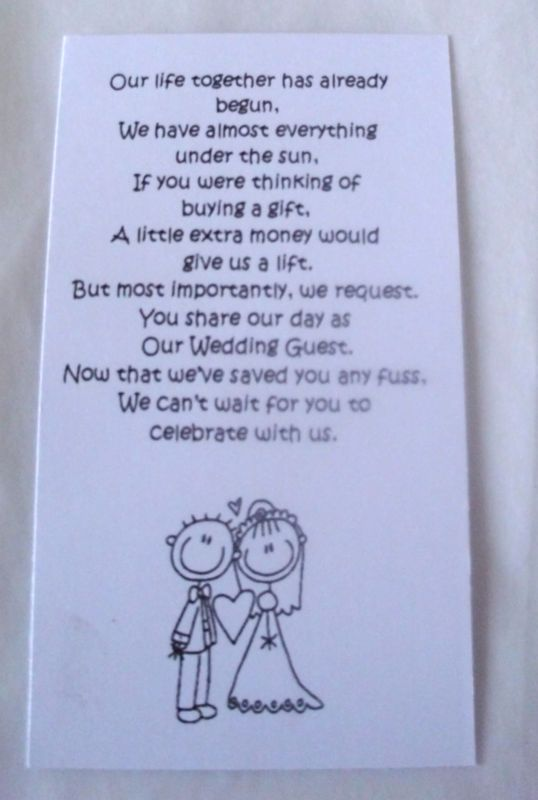 50 Small Wedding Gift Poem Cards Asking For Money Bride Groom Day