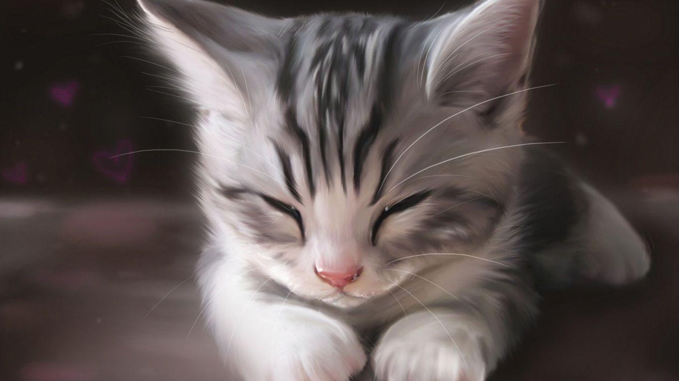 Arte de la acuarela, el dormir lindo del gato Fondos de pantalla - 1366x768