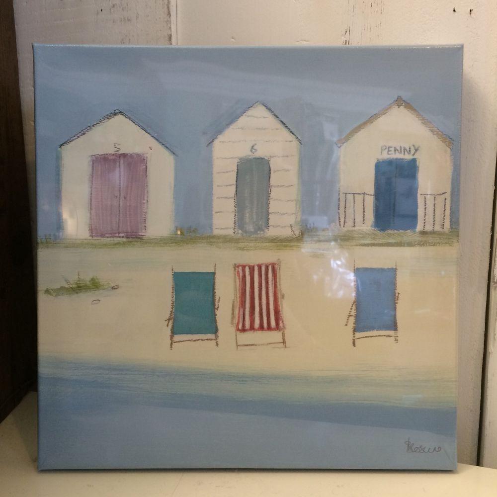 Beach hut canvas print by Sabrina Roscino. Summer Holidays Beach Painting. Coast