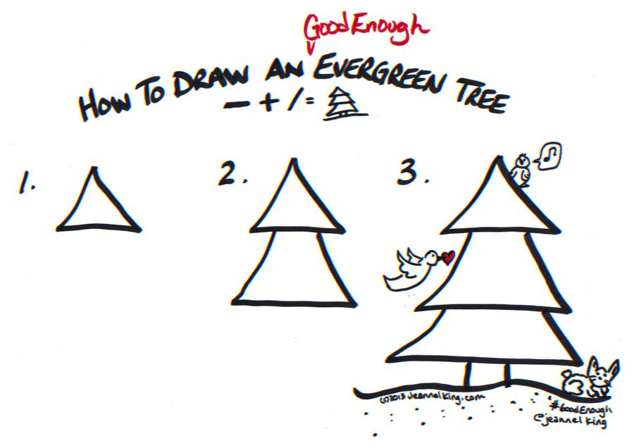 How to draw a Good Enough evergreen tree - drawing tutorial image by Jeannel King